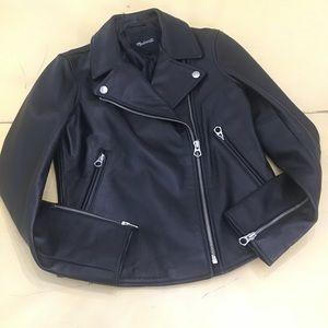 NEW Madewell Black Leather Moto Jacket